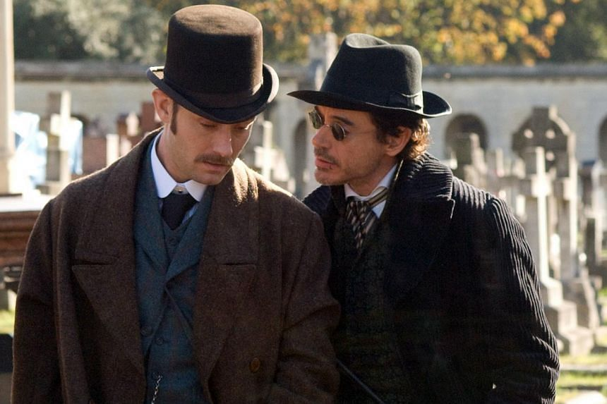 Cinema still from Sherlock Holmes starring Robert Downey Jr and Jude Law (left). -- FILE PHOTO: LIN PICTURES