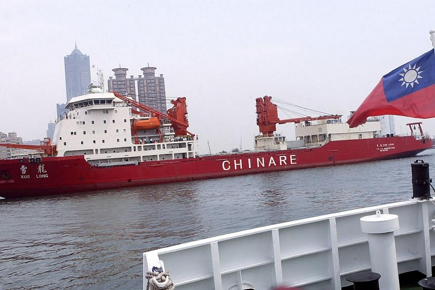 The Chinese icebreaker Xue Long (also known as Snow Dragon) arriving at Kaohsiung harbour, Taiwan, on April 1, 2009. -- PHOTO: AFP/FOOTLOOSEFOTOGRAPHY.COM