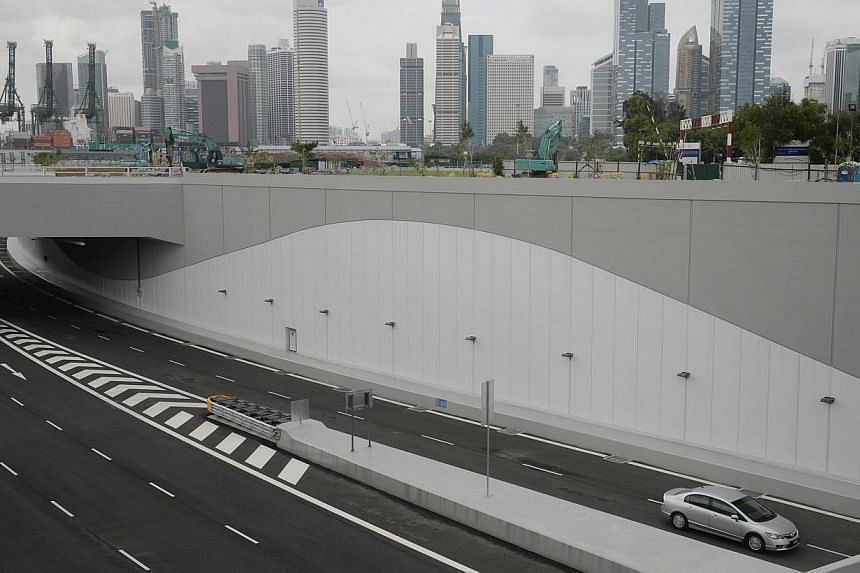 The Marina Coastal Expressway, which opens to traffic today, has five lanes running in each direction and is Singapore's first undersea road. -- ST PHOTO: MARK CHEONG