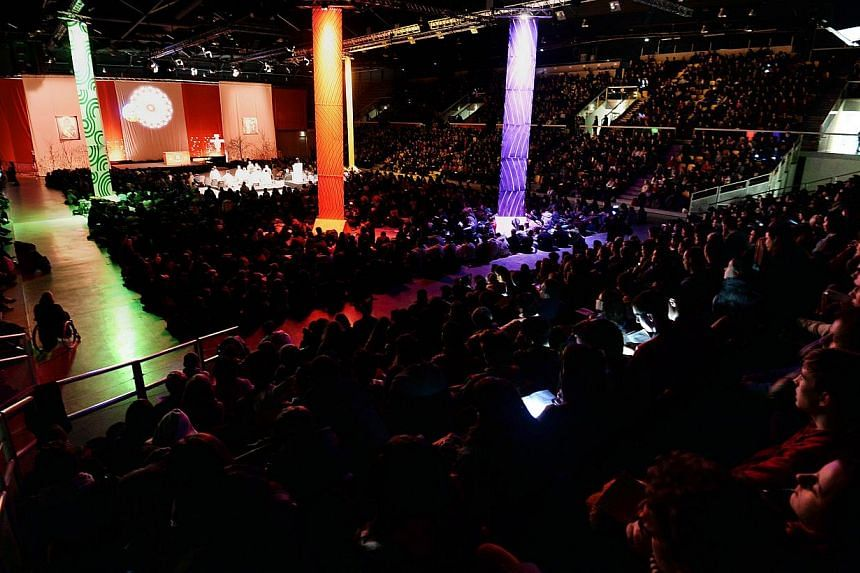 Christians take part in the 36th annual meeting of the ecumenical monastic order of the Taize community on Dec 28, 2013 in Strasbourg, eastern France,. Some 30,000 young Christians from across Europe - Catholics, Protestants and Orthodox - descended