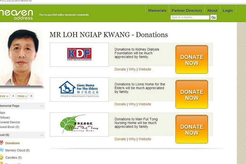A screenshot of the Heaven Address memorial page for Mr Loh. The page allowed family and friends to donate to the family's appointed charities. -- PHOTO: HEAVEN ADDRESS