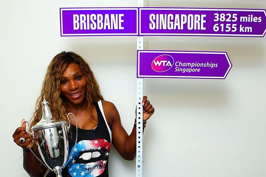 """Serena Williams kicks off the """"Road to Singapore"""" with the WTAChampionships Billie Jean King Trophy at the BrisbaneInternational presented by Suncorp.The Women's Tennis Association (WTA) launched the """"Road to Singapore"""" on Tuesd"""