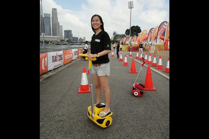 The URA has not said what type of mobile transporters it is considering for the Marina Bay tour. Models which are currently available here include the Segway and the EcoRider (above). -- PHOTO: SPH CATS