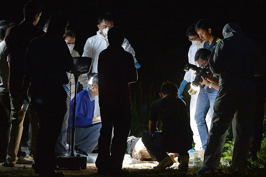 A body was found in a restricted area near Sungei Gedong camp, off Lim Chu Kang Rd.-- ST PHOTO:KUA CHEE SIONG