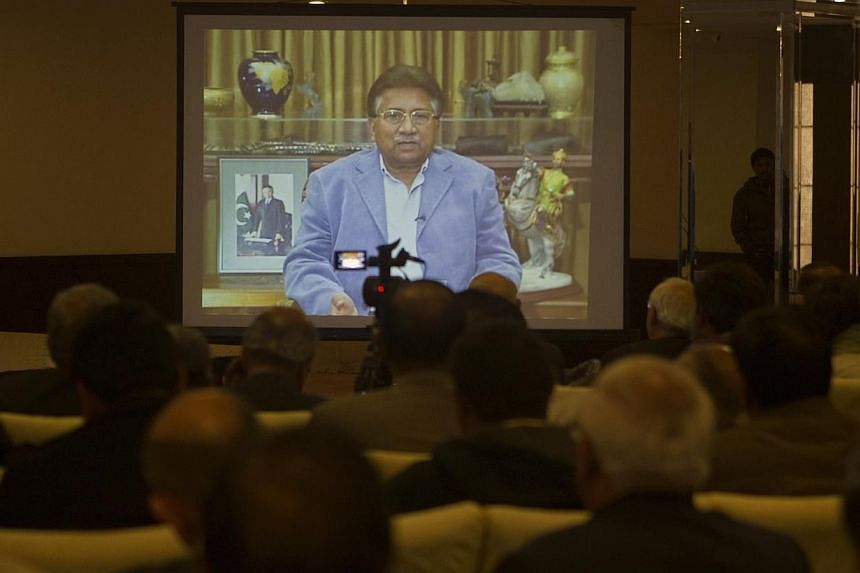 Former Pakistani president Pervez Musharraf is seen during a pre-recorded video statement played for his supporters and members of the media in Islamabad, on Dec 31, 2013. Pakistan's former military ruler Pervez Musharraf failed to show up for a hear