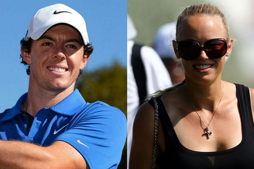 Two-time major golf champion Rory McIlroy (left) and former women's tennis world number one Caroline Wozniacki announced their engagement on Wednesday in postings on Twitter. -- FILE PHOTOS: AFP