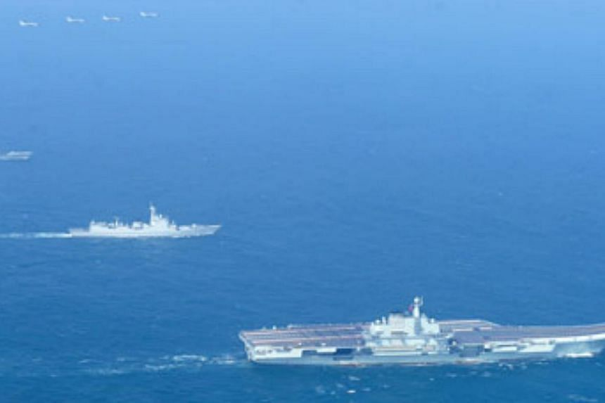 A picture released on Wednesday shows the Liaoning carrier battle group. --PHOTO: CHINA DAILY/ASIA NEWS NETWORK