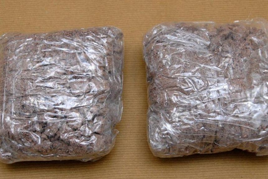 The Central Narcotics Bureau (CNB) seized about 920g of heroin at the Woodlands Checkpoint on Thursday morning, in the first large drug haul of the new year. -- PHOTO: CENTRAL NARCOTICS BUREAU