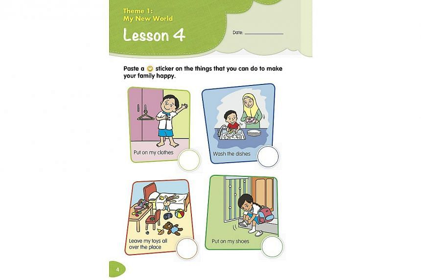 One of the inner pages in a new Character and Citizenship Education textbook launched on Jan 2, 2014. -- PHOTO: COURTESY OF THE MINISTRY OF EDUCATION