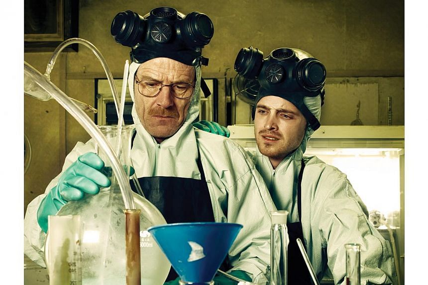 Television still from the series Breaking Bad, starring Bryan Cranston and Aaron Paul. A Florida man who won a contest to watch the finale of the drug-themed TV show Breaking Bad with its cast has been arrested on charges he ran an underground synthe