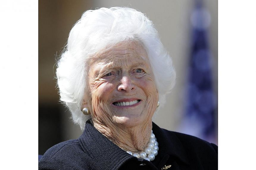 Former US First Lady Barbara Bush smiles in this Apr 25, 2013 photo during the George W. Bush Presidential Center dedication ceremony in Dallas, Texas. MrsBush was in good spirits and doing well after being admitted to a Houston hospital earlie