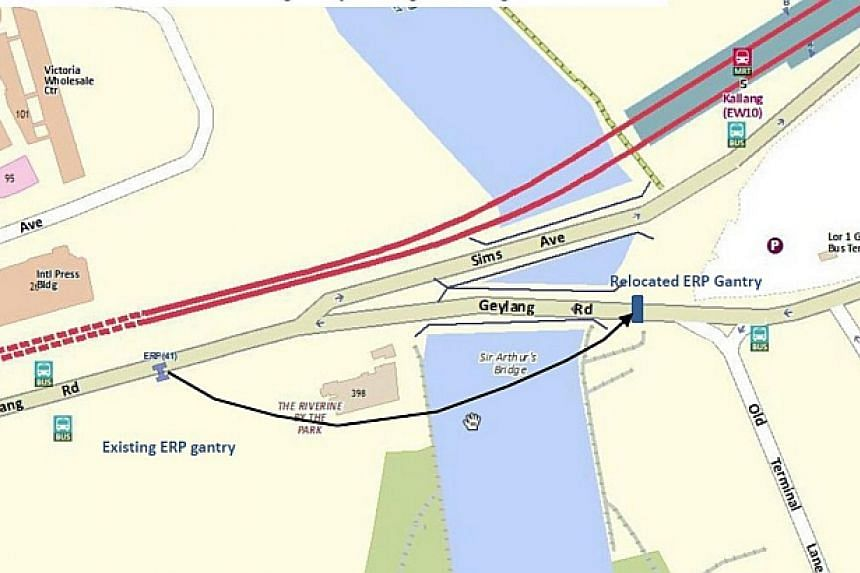 An existing electronic road pricing (ERP) gantry along Kallang Road will be relocated about 400m away to Geylang Road, as part of a road widening project in the area. -- PHOTO: LTA