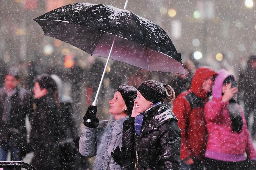 Visitors enjoy the snow on Broadway in New York on Jan 2, 2014. Snowfall in the north-eastern United States caused flight cancellations and airport delays while federal government offices and schools closed due to the foul weather. -- PHOTO: AFP