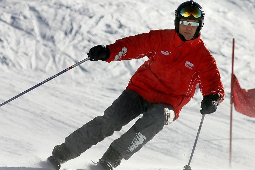 File photo of then Ferrari Formula One driver Michael Schumacher on skis during his team's winter retreat in the Dolomite resort of Madonna Di Campiglio in Jan 12, 2006. Mr Schumacher suffered a serious head injury while skiing in the French Alps res