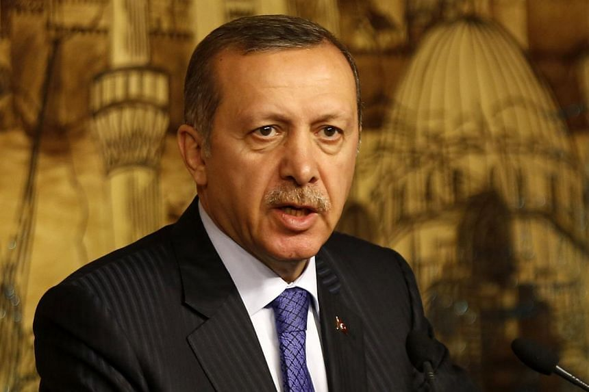 Turkey's Prime Minister Tayyip Erdogan at a joint news conference with his Libyan counterpart Ali Zeidan (not pictured) in Istanbul on Jan 3, 2014. Mr Erdogan on Saturday, Jan 4, 2014, hit out against a corruption probe that has dragged down members