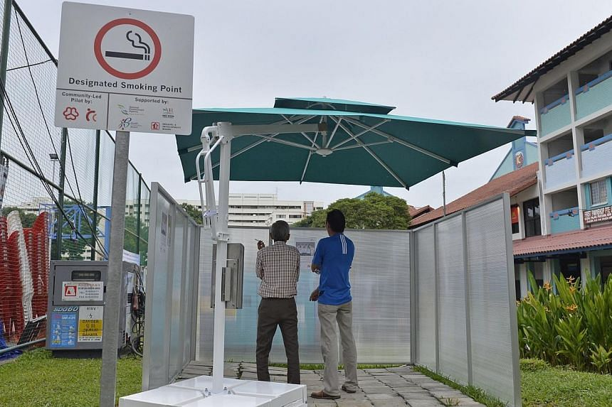 To improve air quality in communal spaces, the first community-led smoke-free zone was launched at Nee Soon South on Sunday.-- ST PHOTO:DESMOND FOO
