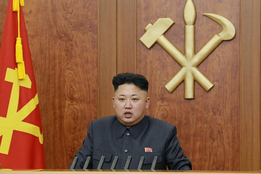 North Korean leader Kim Jong Un delivers a speech during his New Year address in this undated photo, released by Kyodo, on Wednesday, Jan 1, 2014. North Korea slammed South Korea on Sunday for dismissing a peace overture by Kim, accusing Seoul o