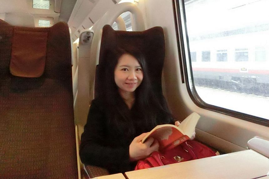Ms Tesse Tan travelling by train from Venice to Florence during a holiday with her husband in Italy last year.  South Korea's East Sea Train (left) has large windows for passengers to enjoy the scenery, and high-speed trains such as France's TGV (rig