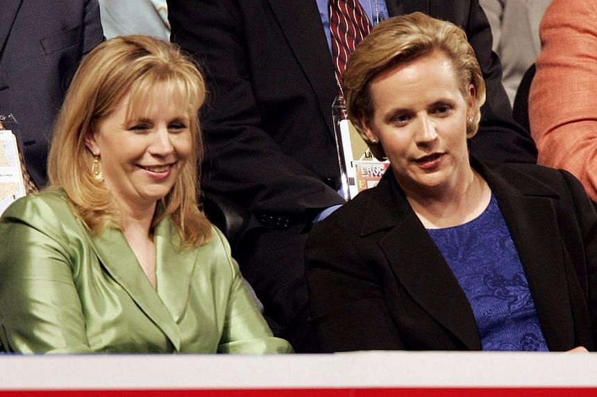 Elizabeth (left) and Mary Cheney, daughters of vice-president Dick Cheney attend the Republican National Convention at Madison Square Garden in New York City, on Sept 1, 2004. Ms Liz Cheney is dropping her bid to be the Republican senate candidate fo