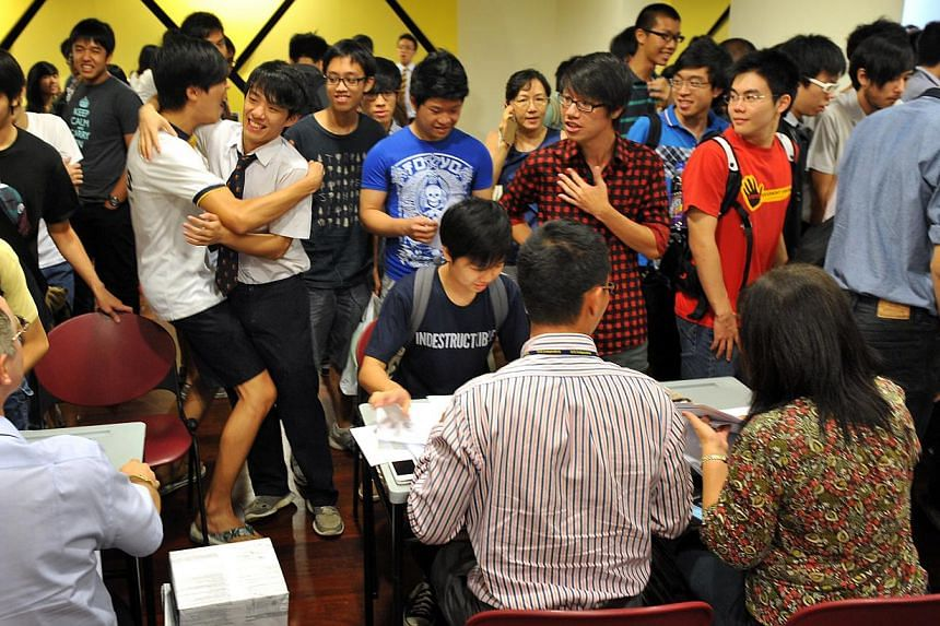 International Baccalaureate students from Anglo-Chinese School (Independent) rejoicing at the release of the programme's results at the school's Dover Road campus on Jan 6 2012. Singapore has topped the Asia-Pacific region in the International Baccal