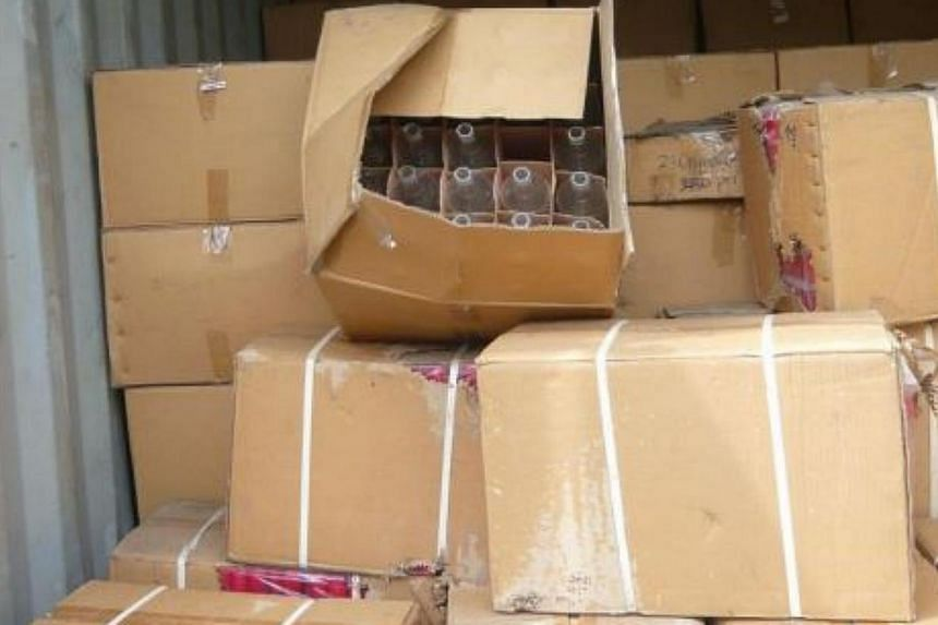 Singapore Customs officers inspected the eleven 20-foot containers, on 6 June, 2013 and found trade mark infringing vodka bottles, bottle caps and labels. Singapore Customs has handed over 77,850 empty counterfeit vodka bottles, 18 boxes of bott