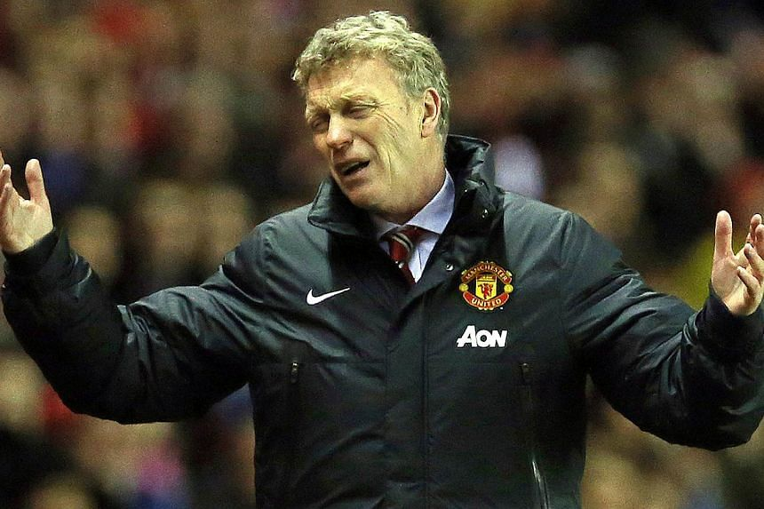 Manchester United's Scottish manager David Moyes at the League Cup semi-final first leg match between Sunderland and Manchester United at the Stadium of Light in Sunderland on Jan 7, 2014. United crashed to a third consecutive loss for the first ti