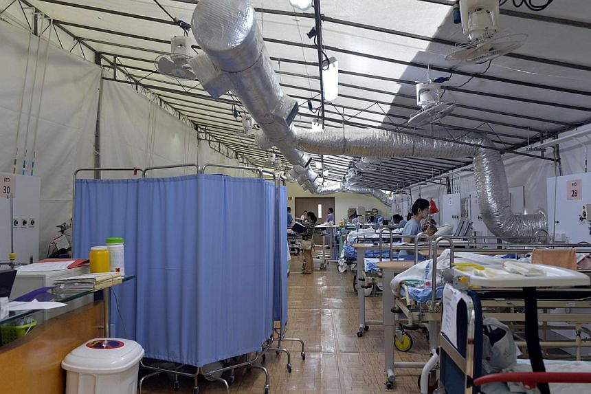 Changi General Hospital started housing patients waiting for beds in this large air-conditioned tent this week. The 800-bed CGH, along with Tan Tock Seng and Khoo Teck Puat hospitals, has resorted to sending patients to  Alexandra, one of the fe