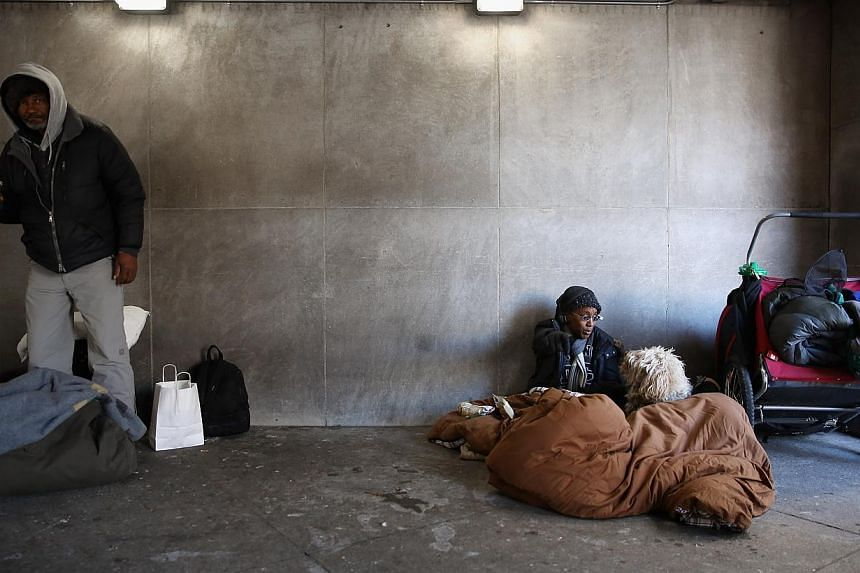 Lasharn Harvey (right) protects herself and her dog Sahara, 5, from the cold underneath a large sleeping bag at the McPhearson Square Metro station beneath the Department of Veterans Affairs on Jan 7, 2014 in Washington, United States. A 'polar vorte