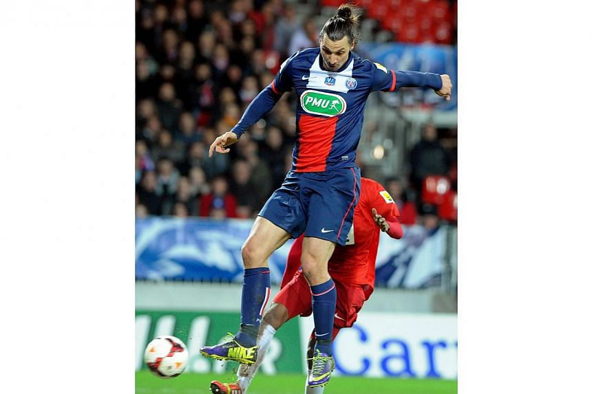 Paris Saint-Germain's Swedish forward Zlatan Ibrahimovic controls the ball during the French League Cup football match between Brest and PSG at the Francis Le Ble stadium in Brest, western France, on Jan 8, 2014. -- PHOTO: AFP