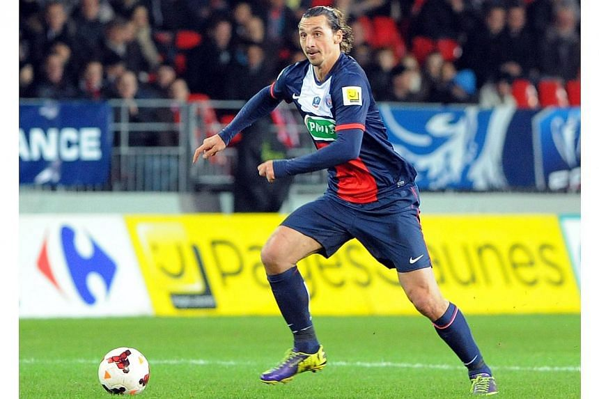 Paris Saint-Germain's Swedish forward Zlatan Ibrahimovic advances with the ball during the French League Cup football match between Brest and Paris Saint-Germain (PSG) at the Francis Le Ble stadium in Brest, western France, on Jan 8, 2014. Ibrahimovi