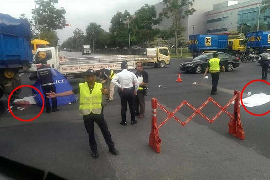 A 54-year-old man was killed after an accident in Tuas on Thursday morning, Shin Min Daily News reported. -- PHOTO: WAN BAO READER