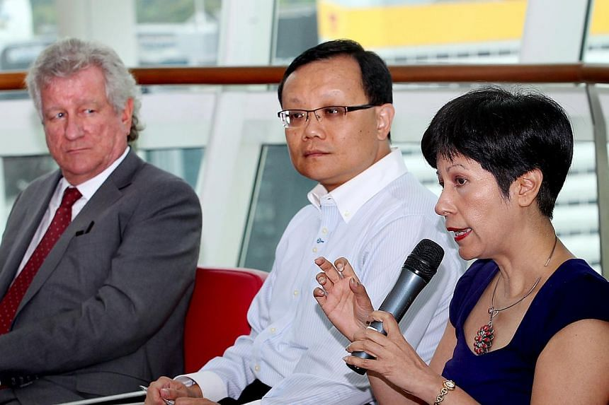 (From left) Rolls-Royce regional director (Asean and Pacific) Jonathan Asherson,  Singapore Polytechnic principal and CEO Tan Choon Shian and Senior Minister of State for Law and Education Indranee Rajah. The review on tertiary te