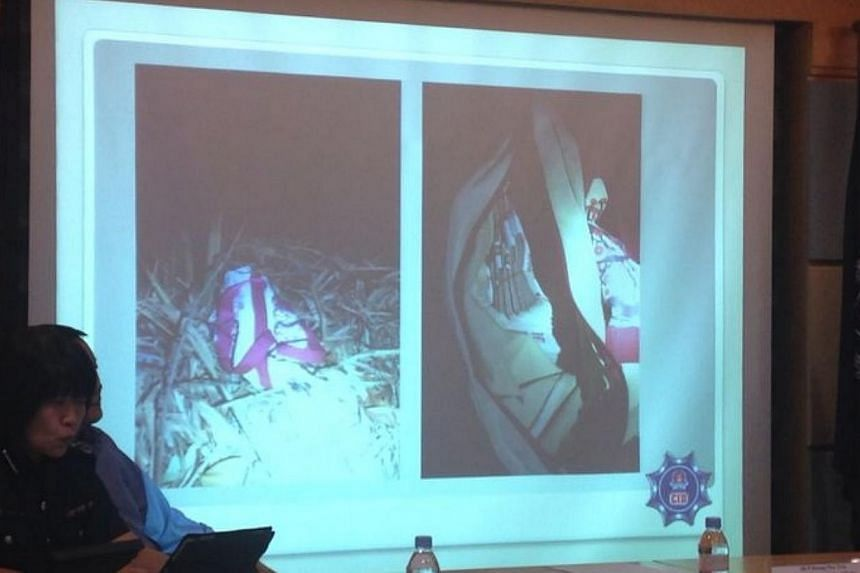 A photo shown during a police briefing about a case of kidnapping. -- PHOTO: SINGAPORE POLICE FORCE
