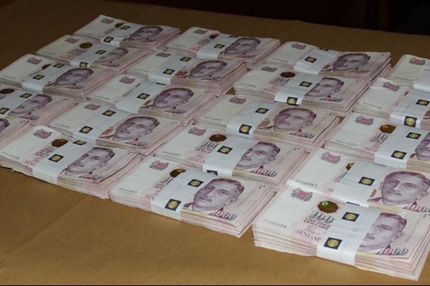 The recovered $2 million ransom. -- PHOTO: SINGAPORE POLICE FORCE