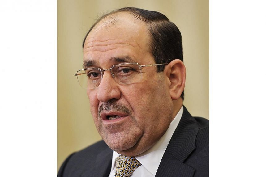 Iraqi Prime Minister Nuri al-Maliki is facing one of the biggest challenges of his eight-year rule, with key areas on Baghdad's doorstep outside government control just months before general elections. -- FILE PHOTO: AFP