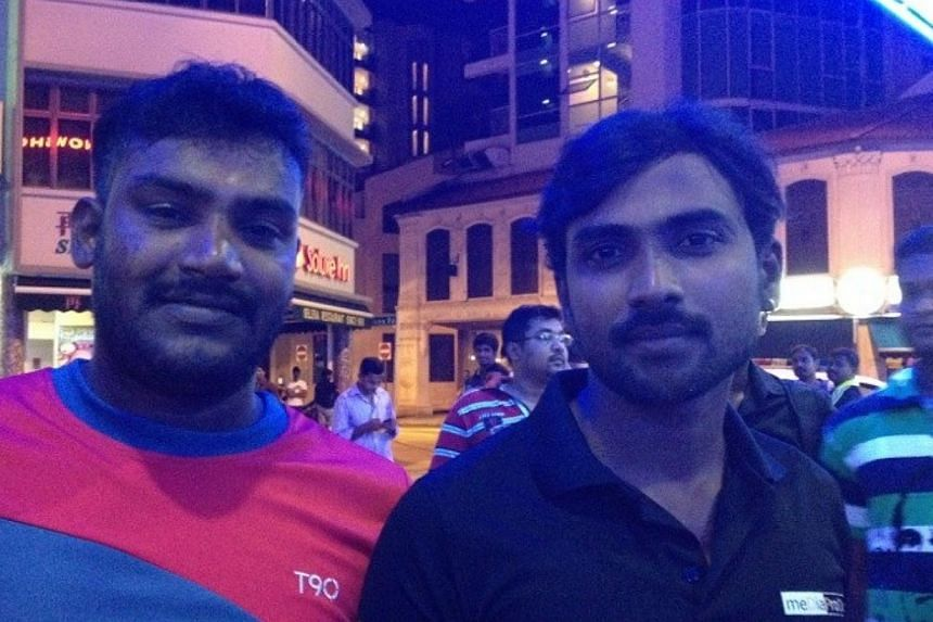 Suresh Veerasamy, 29 (left), and Tamal Shanmugam, 28 (right), both construction workers. -- ST PHOTO: TESSA WONG
