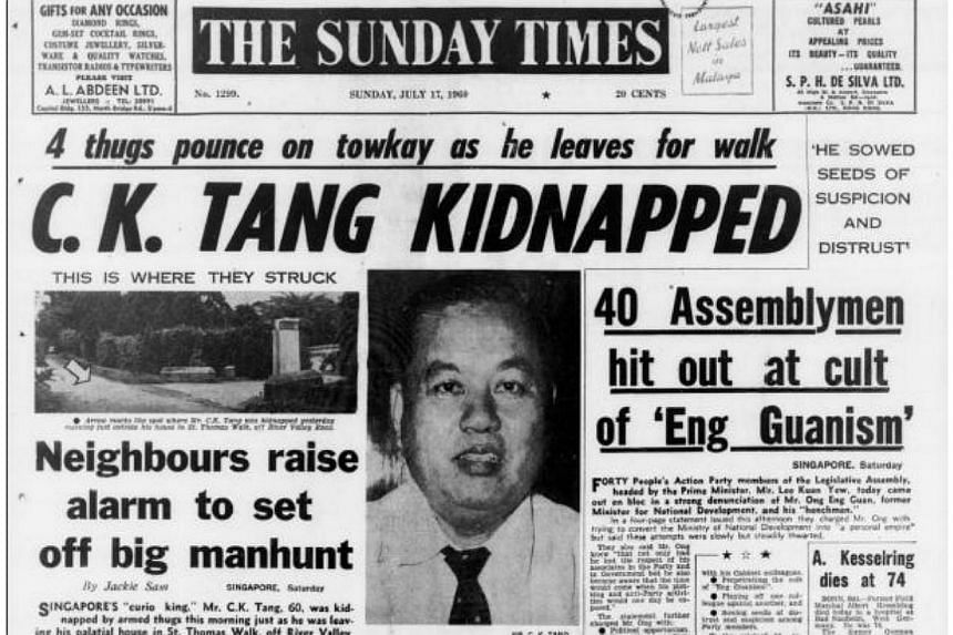 Mr Tang Choon Keng, Tangs' founder and better known as Mr C.K. Tang, was kidnapped in 1960. He was released four days later after a $150,000 ransom was paid. -- PHOTO: FACSIMILE OF THE STRAITS TIMES