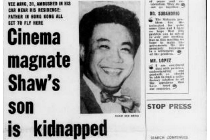 Mr Shaw Vee Ming, movie mogul Run Run Shaw's son, and his driver were kidnapped in 1964. They were released after the family paid a $250,000 ransom. -- PHOTO: FACSIMILE OF THE STRAITS TIMES