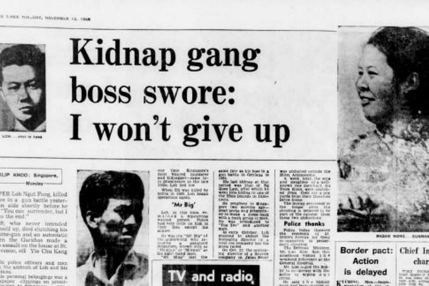 Loh Ngut Fong, who was one of the kidnappers ofTang's founderTang Choon Keng in 1960, was behind several other famous kidnappings.-- PHOTO: FACSIMILE OF THE STRAITS TIMES