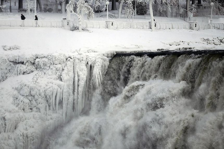The US side of the Niagara Falls is pictured in Ontario, on Jan 8, 2014. -- PHOTO: REUTERS