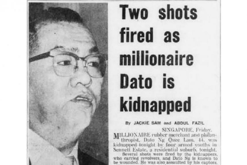 Rubber magnate Ng Quee Lam was dragged from his limousine when he arrived to pick up a friend for dinner at Kee Choe Avenue in Sennett Estate in November 1964. Mr Ng was freed after a fortnight when his family paid the $400,000 ransom.&nbsp
