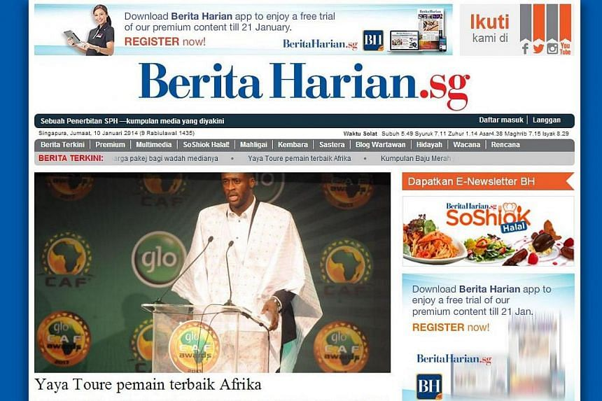 A screengrab from BeritaHarian.sg.Singapore's Malay-language daily Berita Harian will be offering an all-in-one price package for its print, online, smartphone and tablet platforms, after a one-month free trial of its new smartphone and tablet