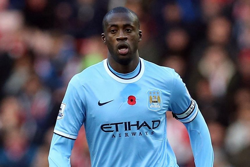 Manchester City's Ivory Coast midfielder Yaya Toure during the English Premier League football match between Sunderland and Manchester City at Stadium of Light in Sunderland, north-east England on Nov 10, 2013.Toure on Jan 9, 2014, won a third