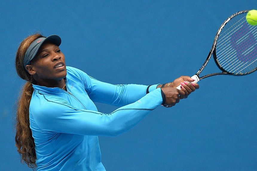 Serena Williams of the United States plays a shot during a practice session ahead of the 2014 Australian Open tennis tournament in Melbourne on Jan 11, 2014. Williams vowed never again to complain about Melbourne's changeable weather after her grumbl