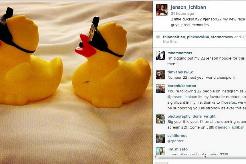 McLaren's former world champion Jenson Button reveals his new Formula 1 car number with an Instagram post (above) showing two ducks that represent the number 22. Formula 1 drivers revealed their car numbers on Jan 10, 2014, for the forthcoming season