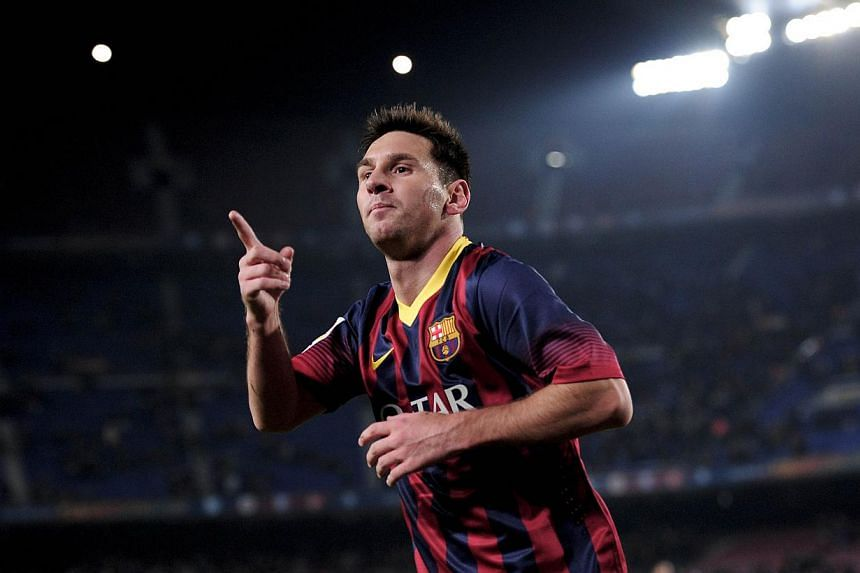 Barcelona's Argentinian forward Lionel Messi celebrates his goal during the Spanish Copa del Rey (King's Cup) football match Barcelona vs Getafe at the Camp Nou stadium in Barcelona on Jan 8, 2014. Leaders Barcelona have yet to decide if Lionel Messi
