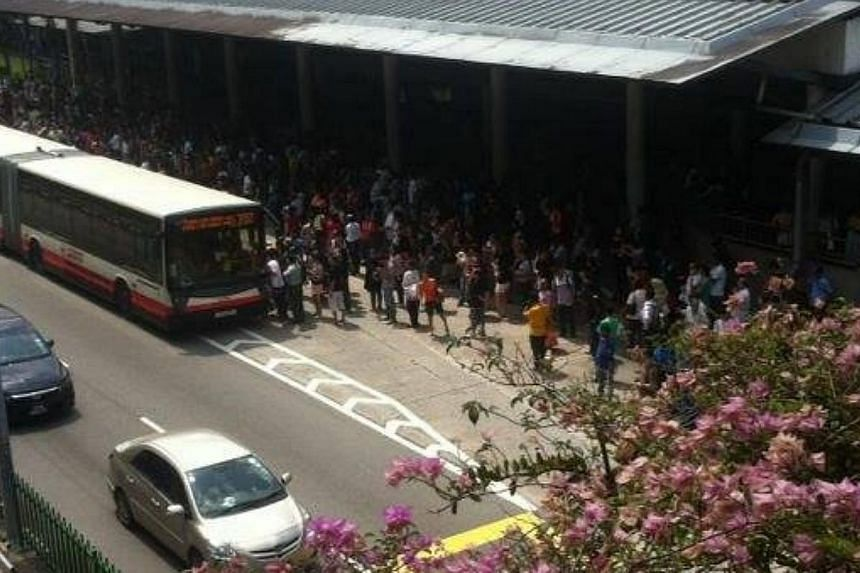 Train services between Kranji and Yew Tee stations on the North-South line resumed at about 2.10pm on Saturday, almost two hours after a power fault was detected.-- PHOTO: RASYAD ABDUL RAHMAN