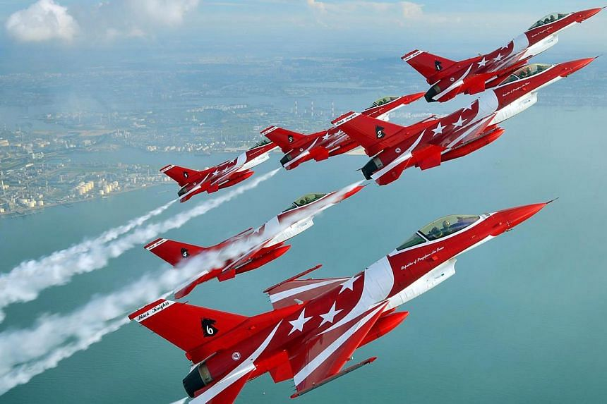 The aerial display teams that will perform at the Singapore Airshow include the Indonesian Air Force's Jupiter Aerobatic Team, the South Korean Air Force's Black Eagles and the RSAF's Black Knights (above). -- PHOTO: FACEBOOK PAGE OF THE RSAF