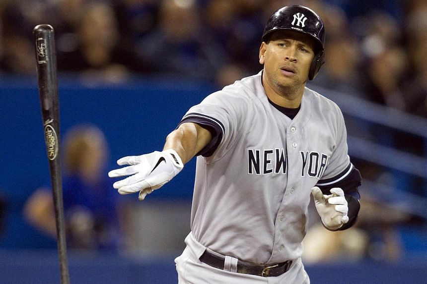 New York Yankees Alex Rodriguez tosses his bat after flying out against the Toronto Blue Jays in the ninth inning of their American League MLB baseball game in Toronto in this file photo from Sept 18, 2013. -- FILE PHOTO: REUTERS