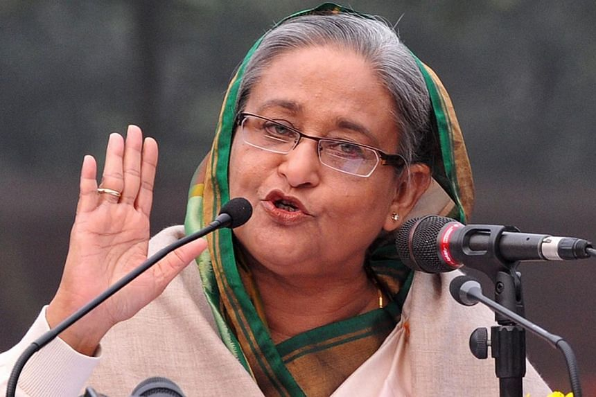 Prime Minister Sheikh Hasina was sworn in as Bangladesh's prime minister on Sunday for a third spell, after a deadly election boycotted by the opposition amid a worsening political crisis. -- PHOTO: AFP